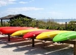 Kayaks on the beach at Island Inn Sanibel