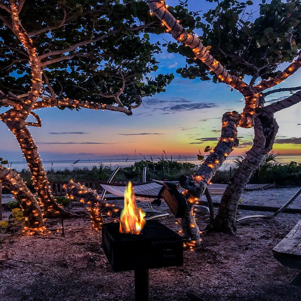 BBQ at sunset on sanibel